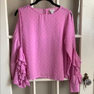 A New Day Cold Shoulder Ruffle Sleeve Blouse